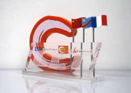 lucite tombstone with flag