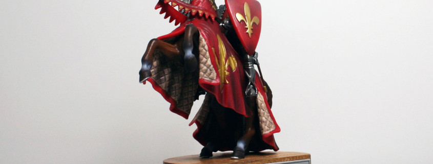 Model Knight mounted on Wooden Base with printed Deal Info